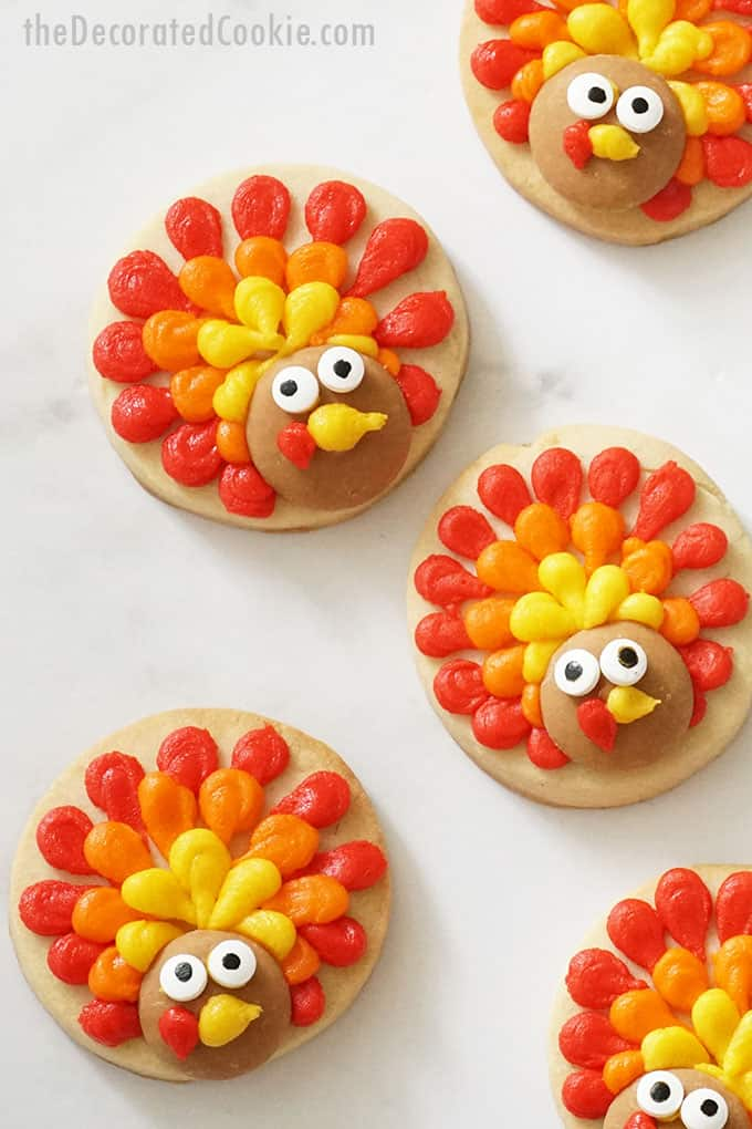 overhead image of decorated turkey cookies