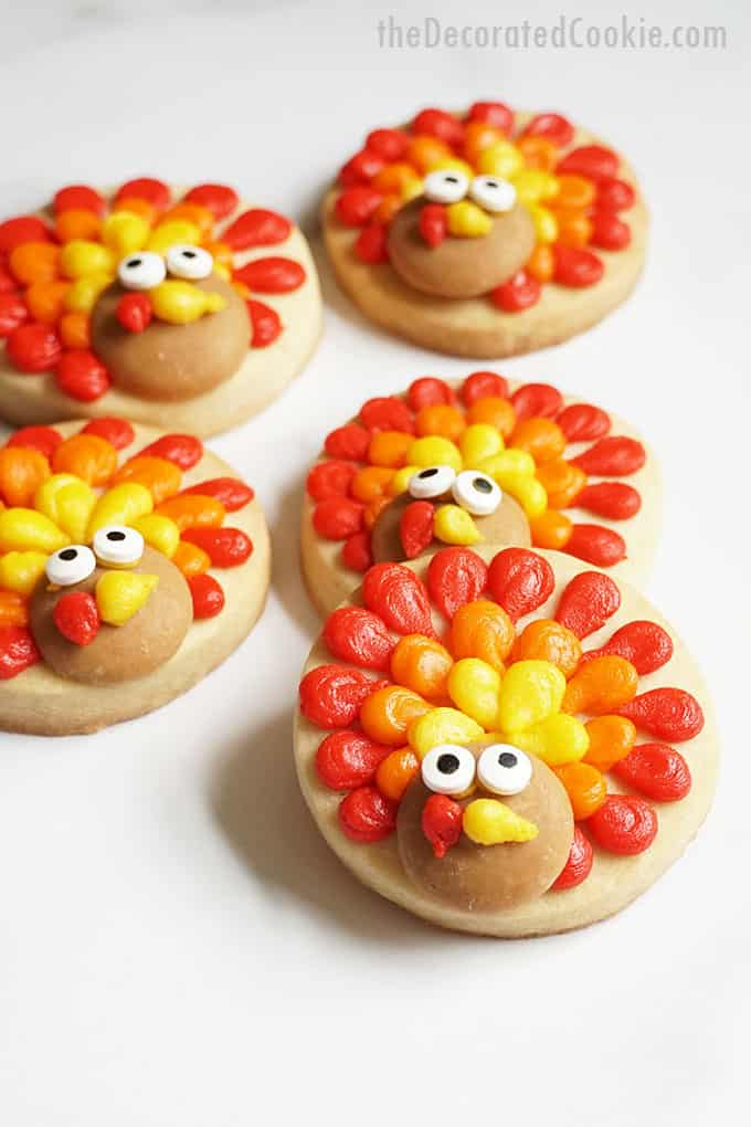 five decorated turkey cookies