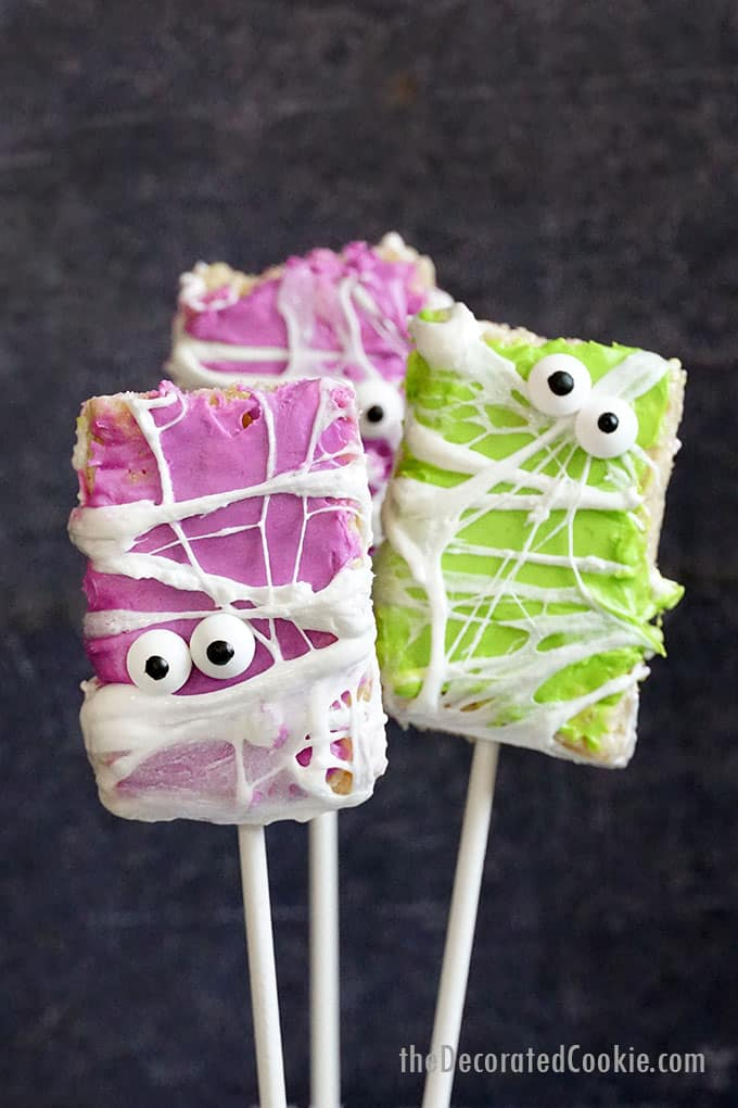 close-up of halloween rice krispie treats