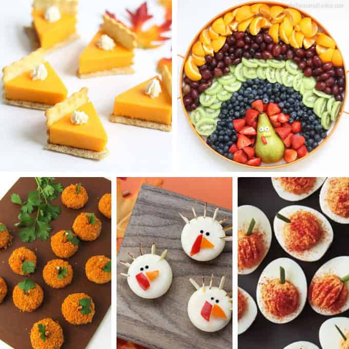 collage of fun Thanksgiving appetizers