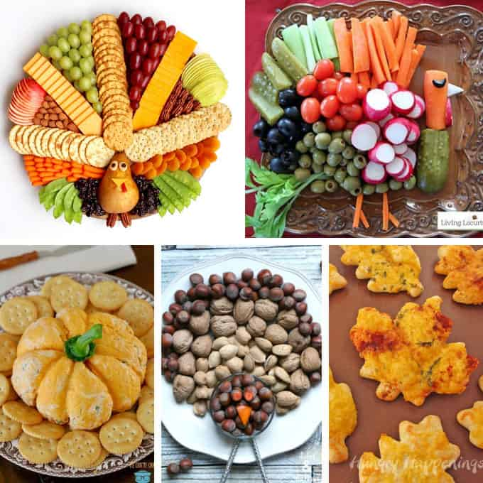 a collage of 5 thanksgiving appetizers