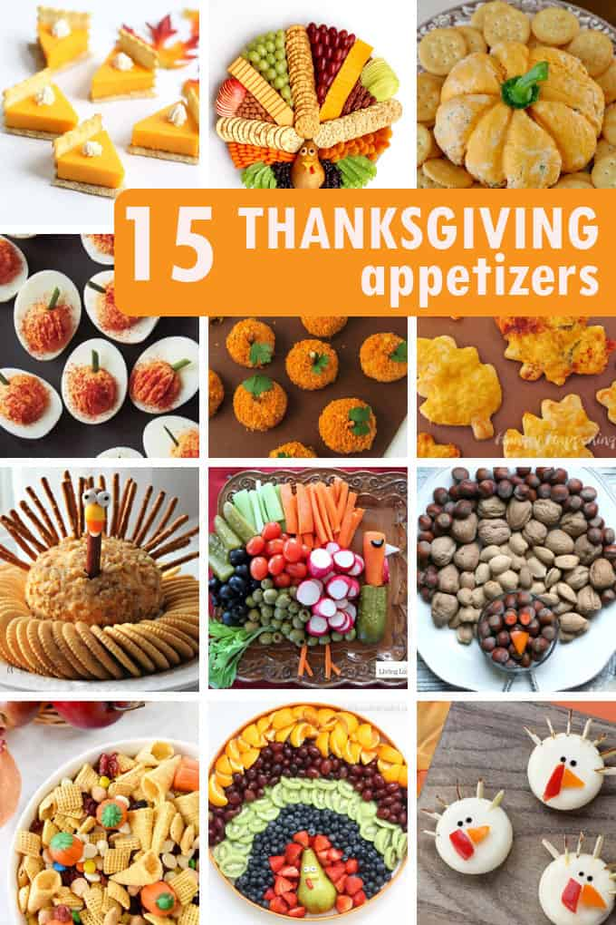 A collage of 12 Thanksgiving appetizer ideas.