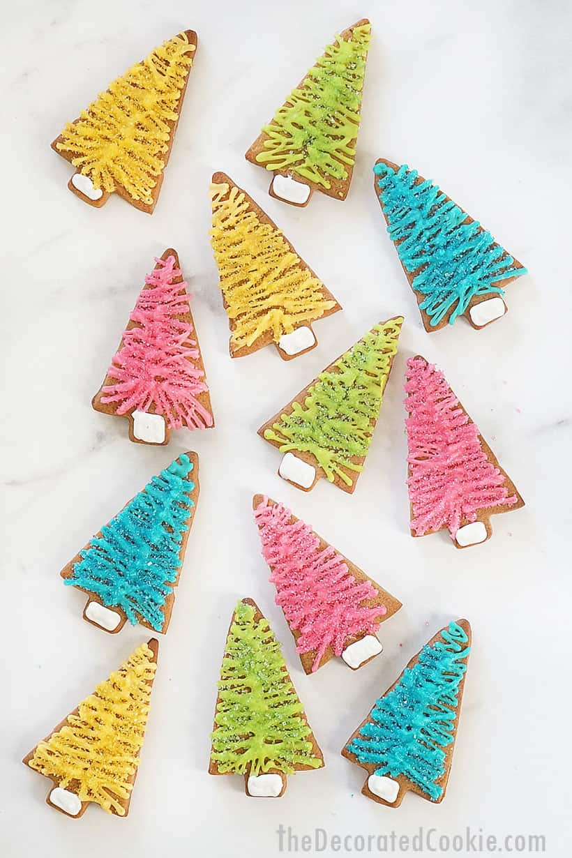 gingerbread Christmas cookies decorated like bottle brush Christmas trees