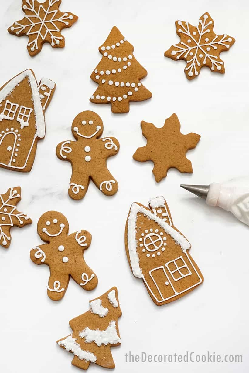 no-spread gingerbread cookies decorated with royal icing