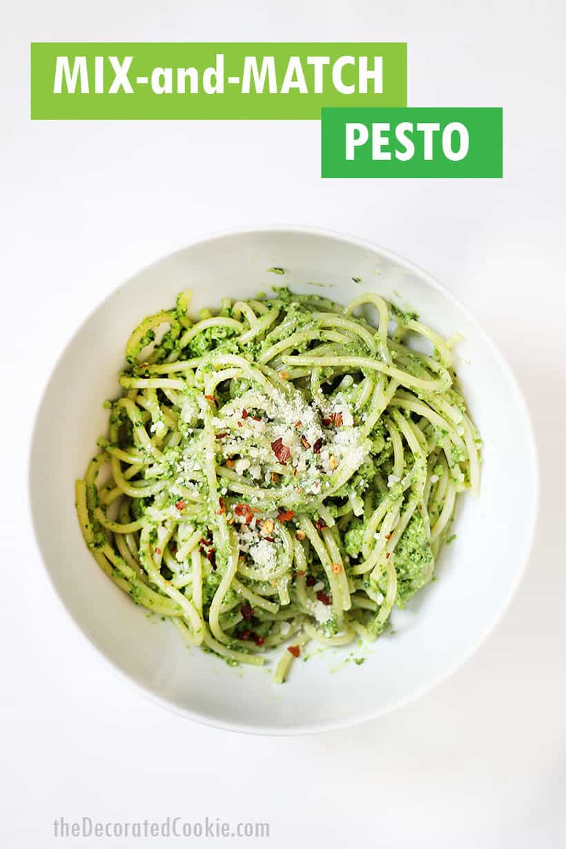 bowl of kale-walnut pesto with spaghetti