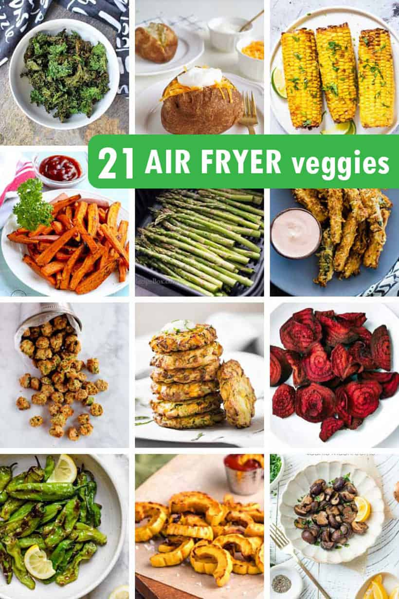 collage of air fryer vegetables
