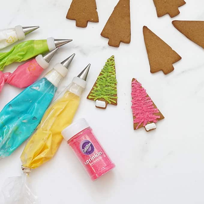 icing bags decorating bottle brush Christmas tree cookies