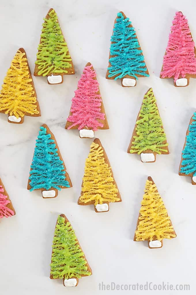 overhead view of bottle brush christmas tree cookies
