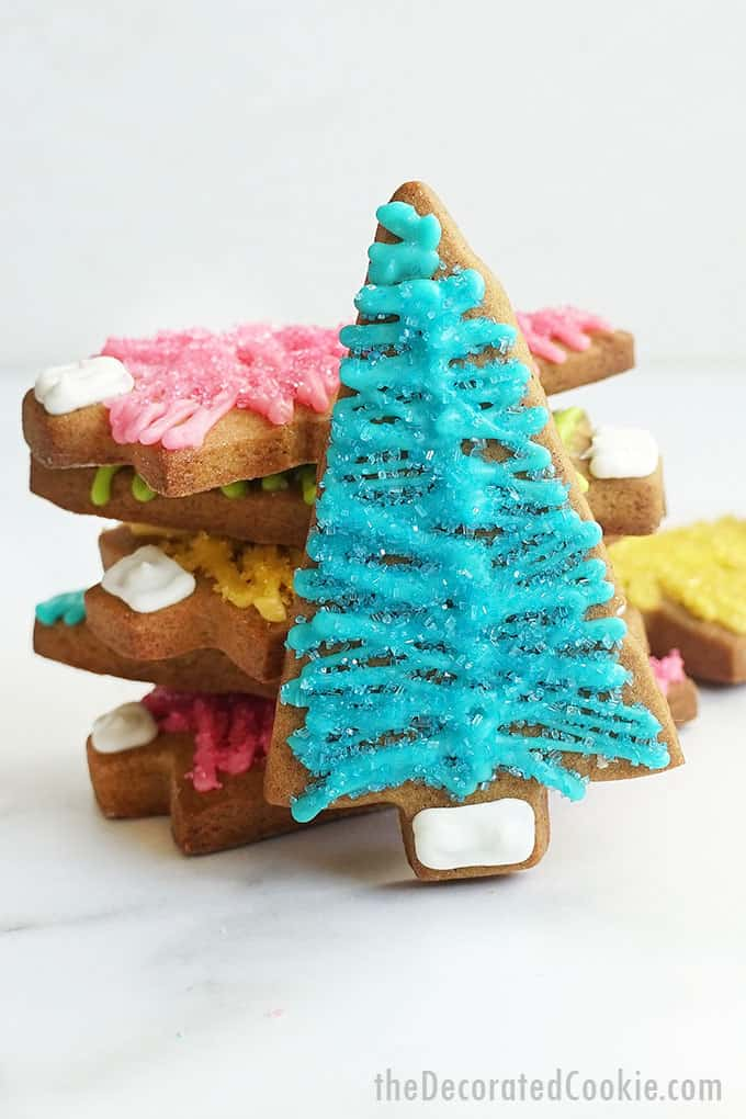 close up of bottle brush Christmas tree cookies