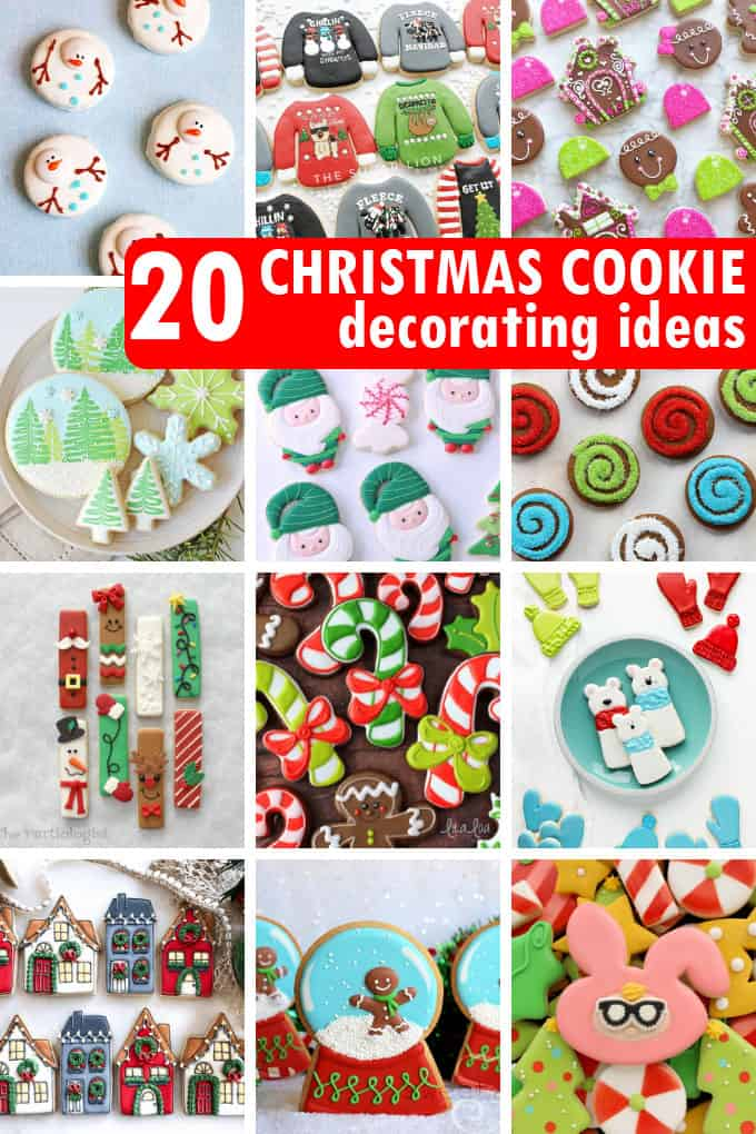 a collage of Christmas cookie decorating ideas