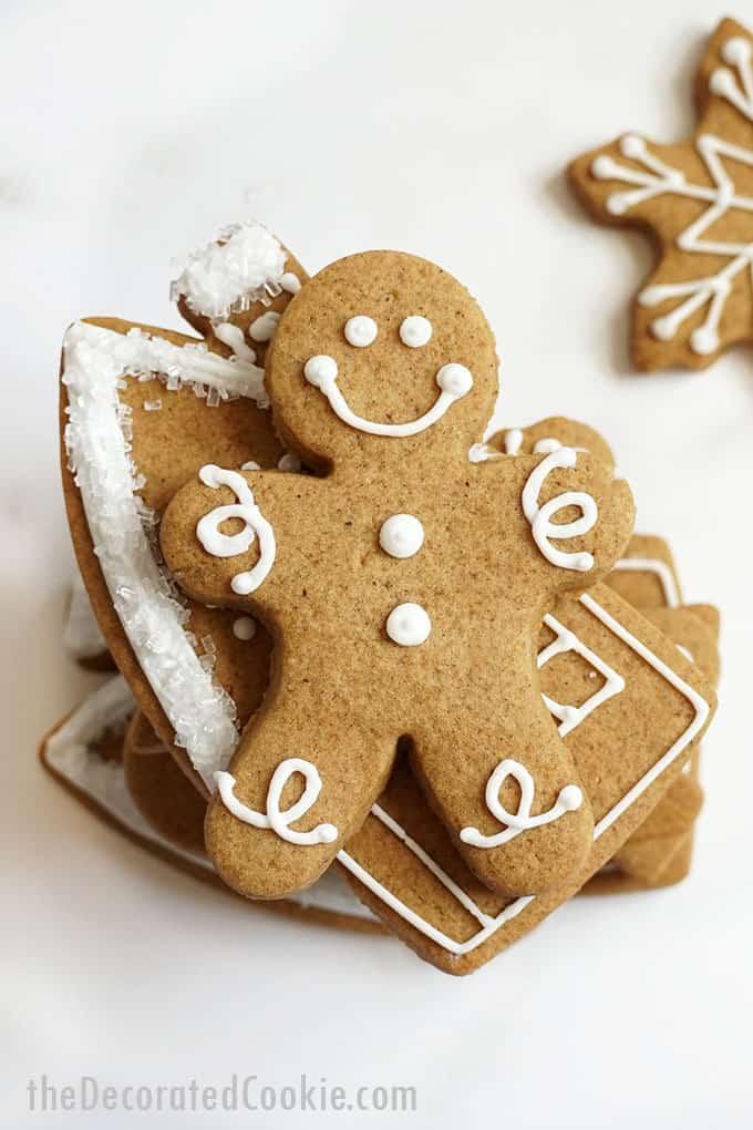 overhead image of gingerbread man cookie