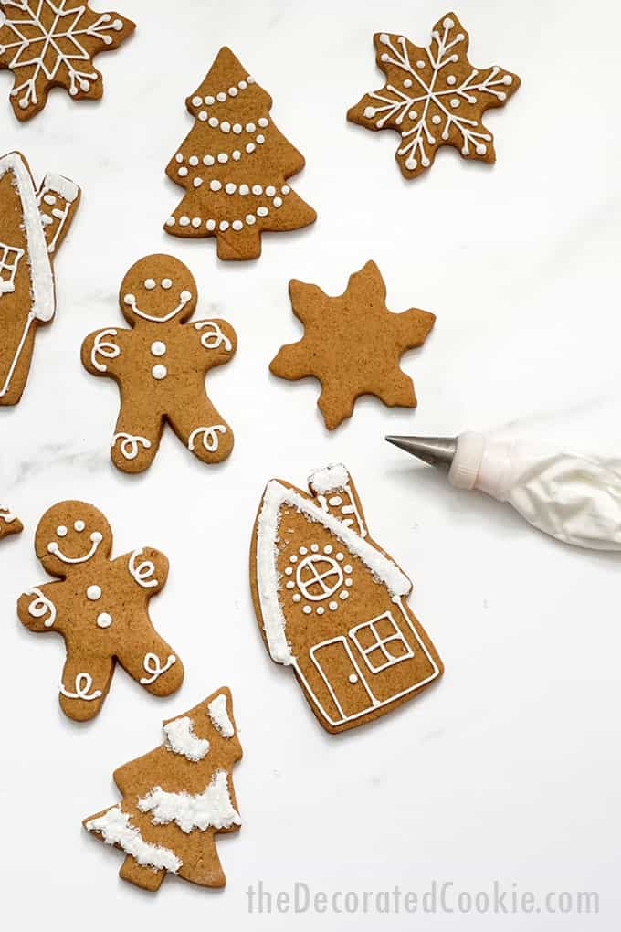 cut-out gingerbread cookies with royal icing