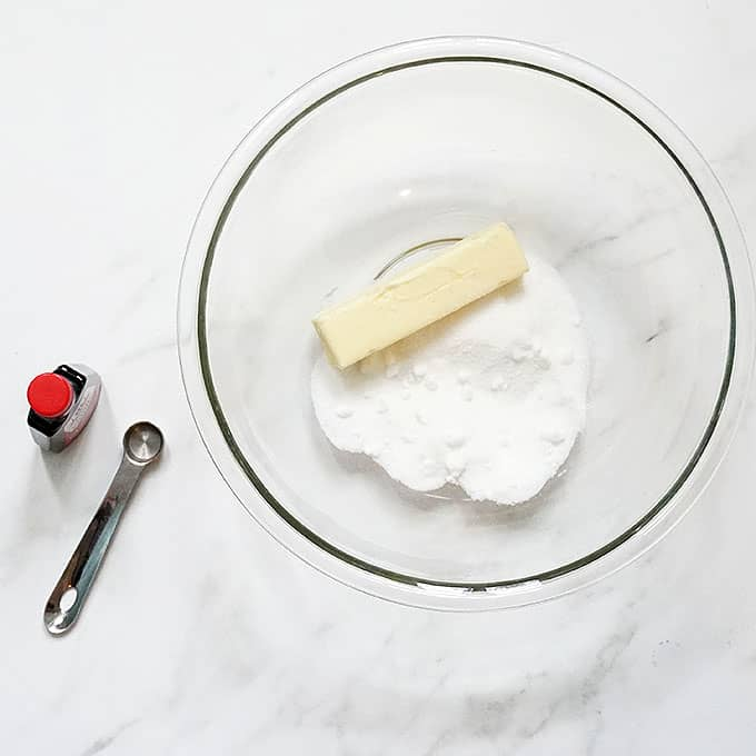 butter and sugar in a bowl for edible brownie batter