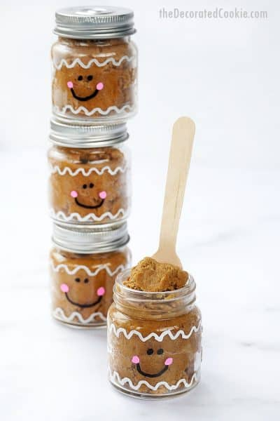 edible gingerbread cookie dough in cute little gingerbread man jars