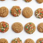 overhead view of soft molasses cookies