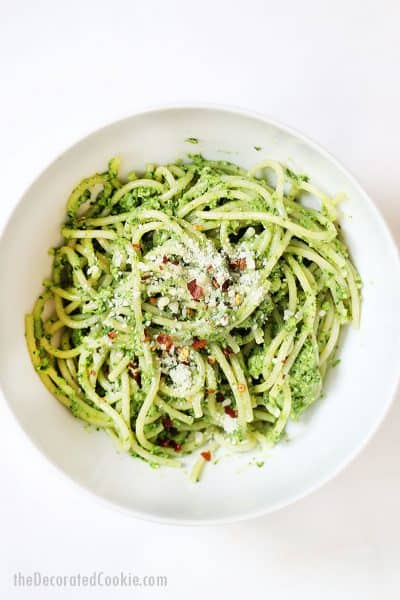 bowl of pesto and spaghetti