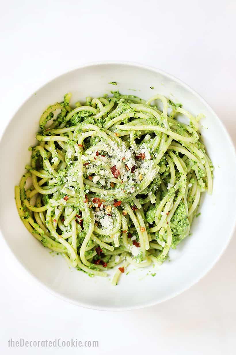 bowl of pesto and spaghetti