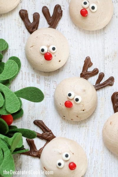 chocolate peppermint meringue cookies decorated as reindeer for Christmas