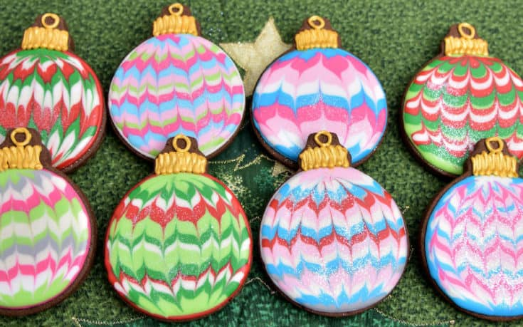 Marbled Christmas Ornament Cookies