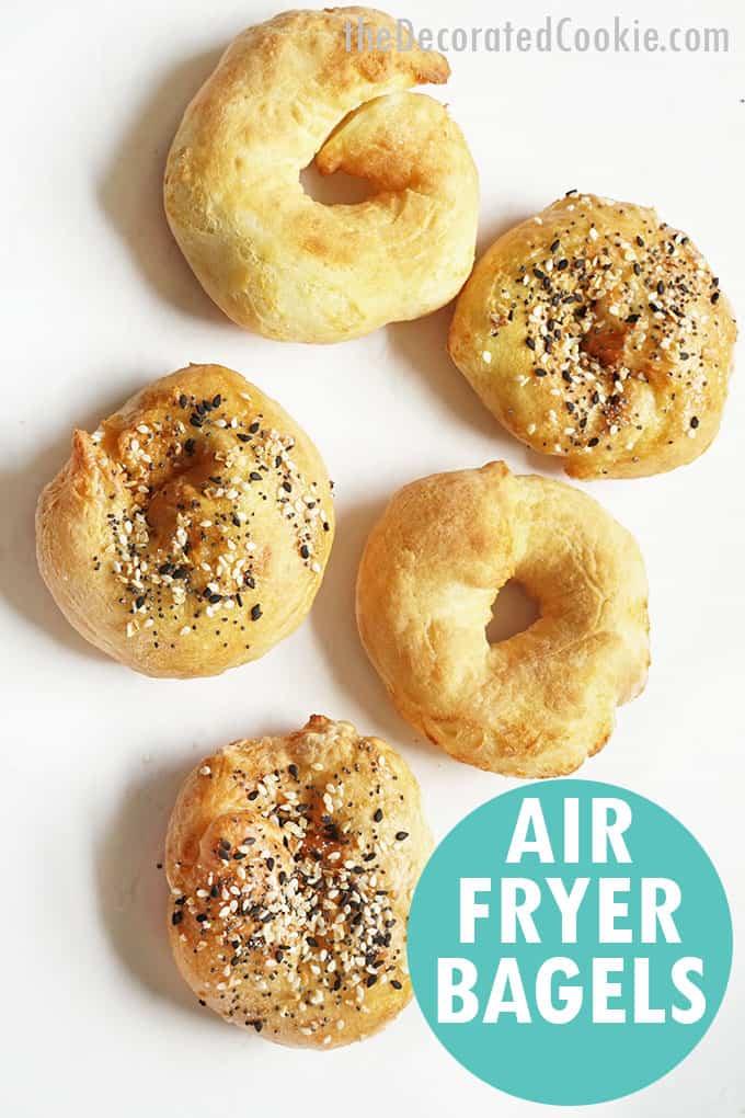 overhead image of air fryer bagels