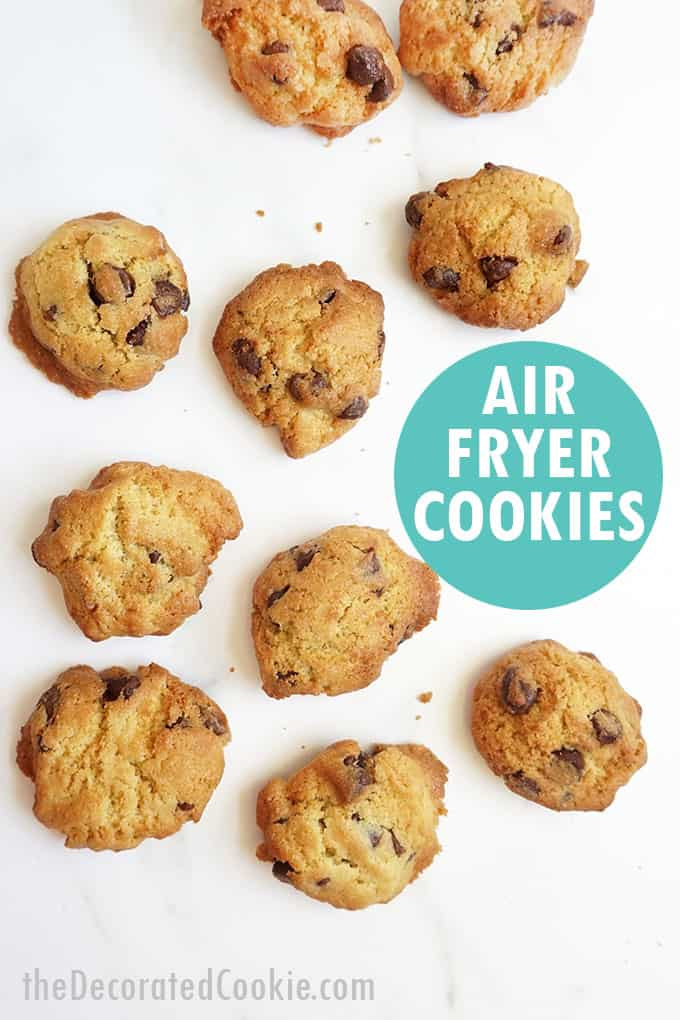 overhead view of air fryer chocolate chip cookies