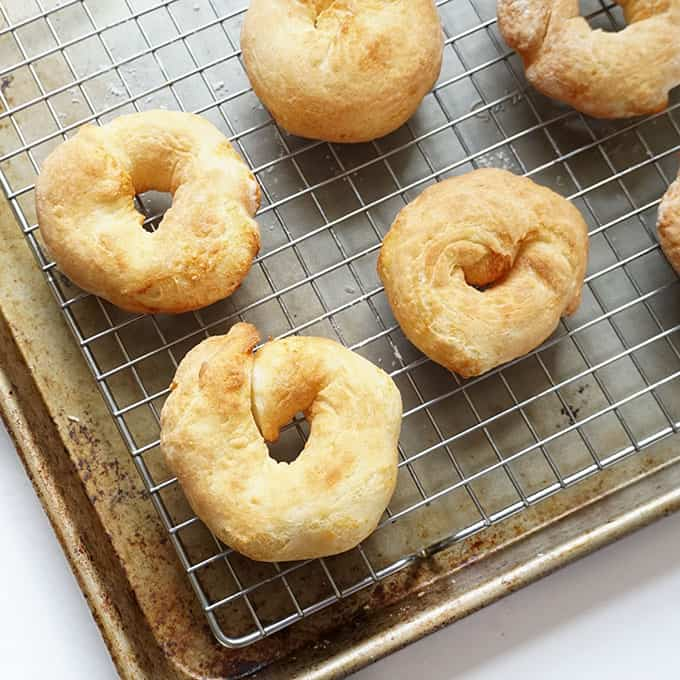 image of air fryer bagels on baking tray