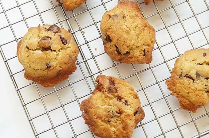 air fryer chocolate chip cookies on wire baking rack