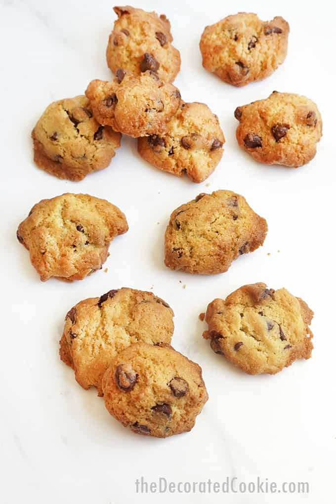 air fryer chocolate chip cookies on white background