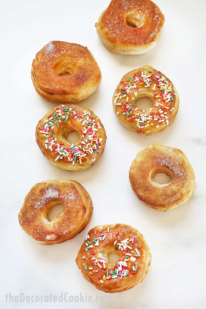 overhead image of air fryer donuts