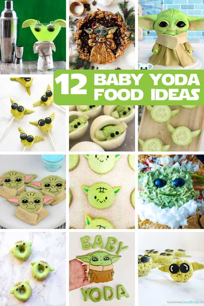 BABY YODA FOOD IDEAS -- A roundup for your Star Wars party including appetizers, cookies, marshmallows, cakes, and cocktails.