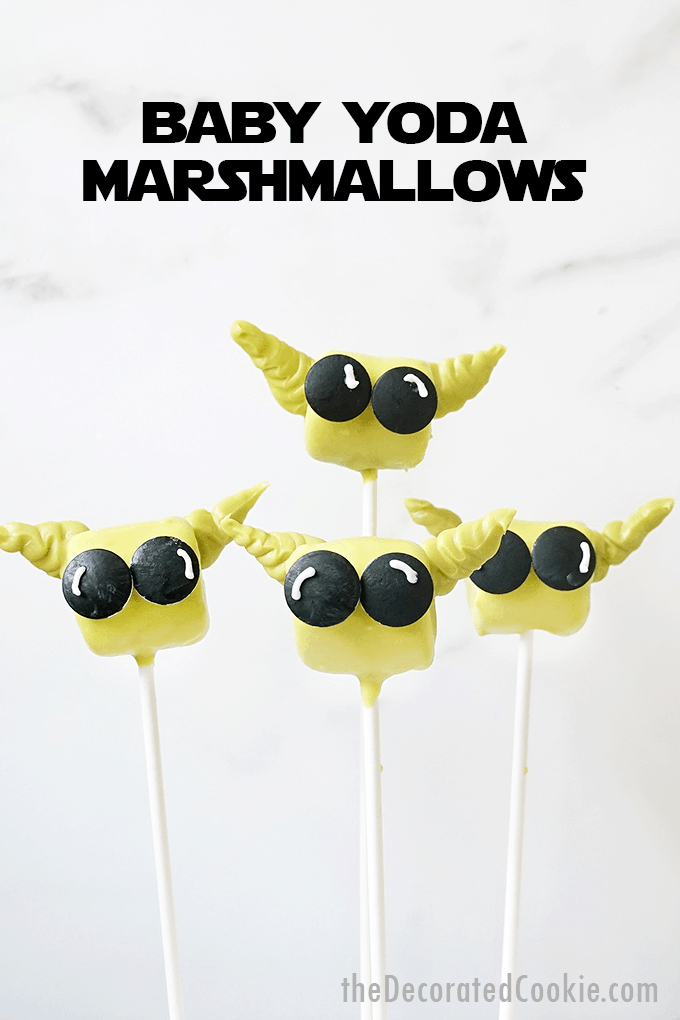 baby yoda marshmallows with text