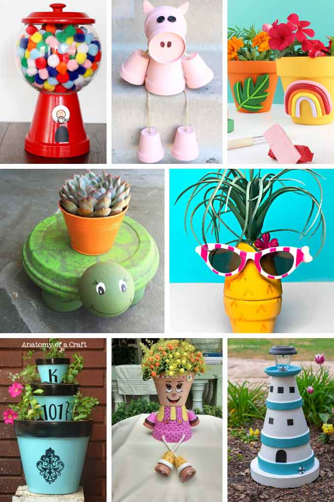 a collage of clay pot crafts