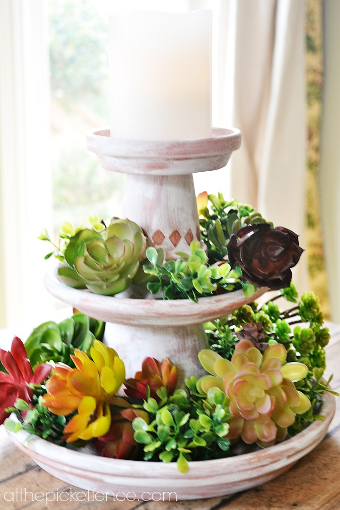 Tiered Clay Pot Centerpiece