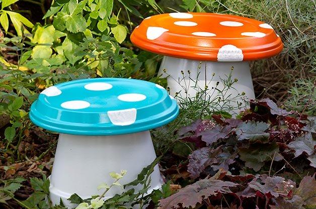DIY Garden Mushrooms