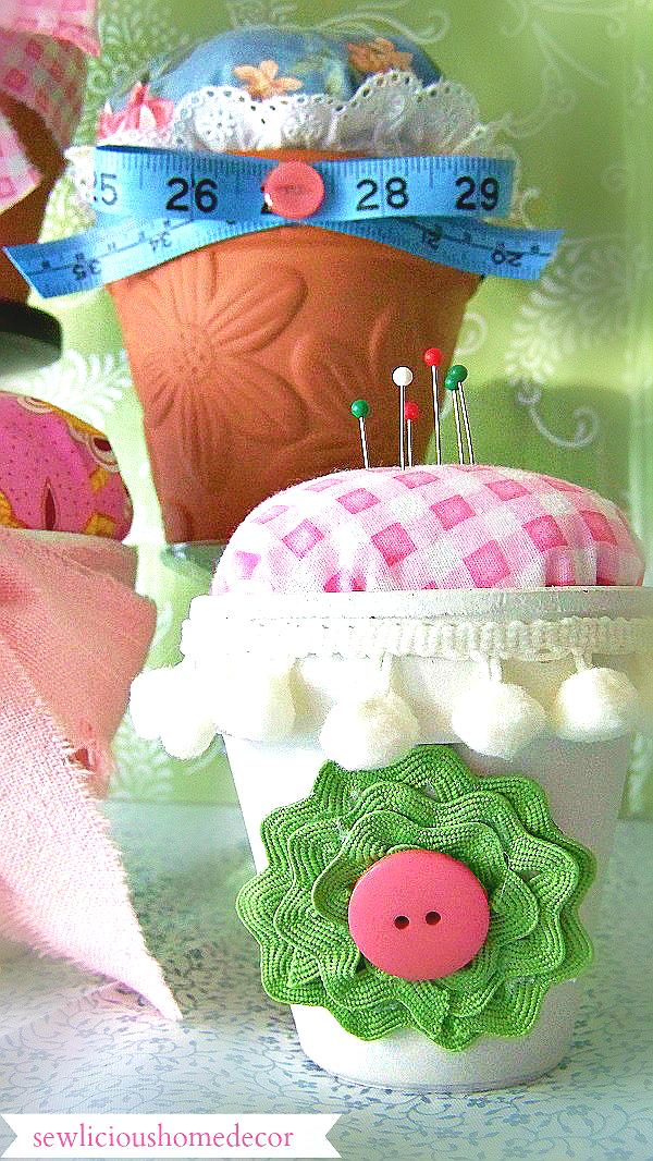 Flower Pot Pin Cushions
