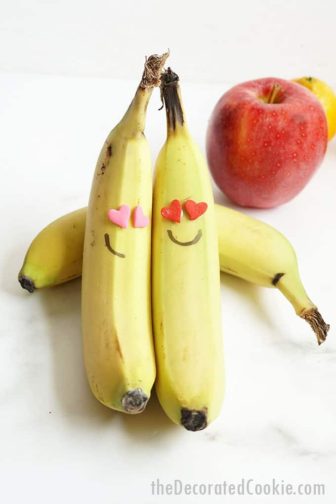 bananas with heart sprinkle eyes for Valentine's Day