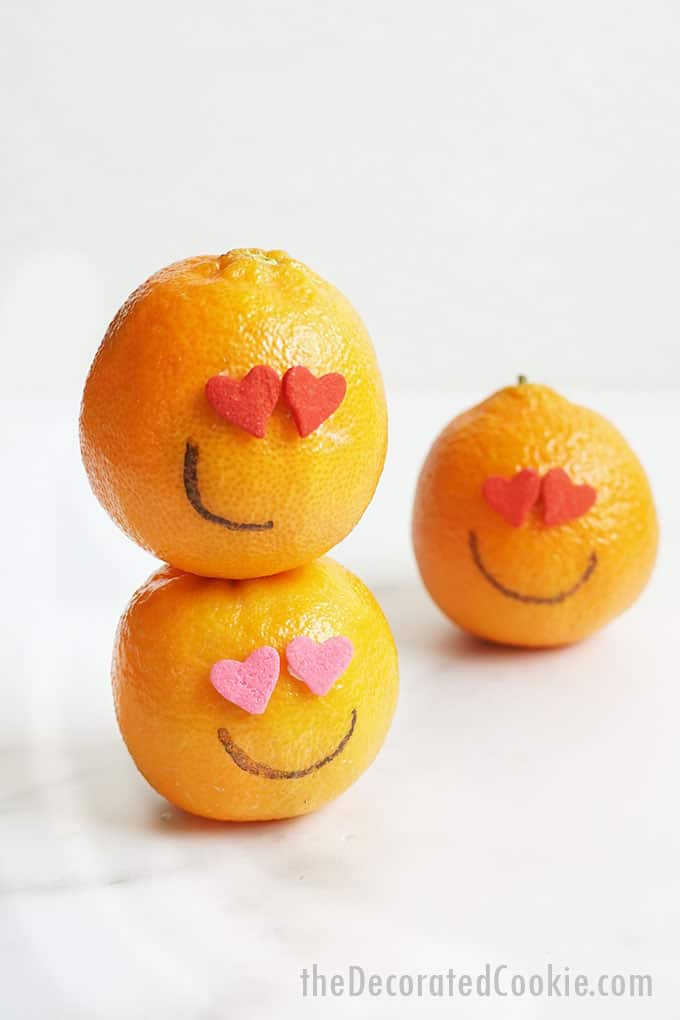 Cutie oranges with heart sprinkle eyes