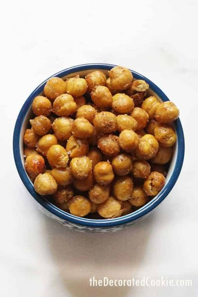 bowl of crispy chickpeas
