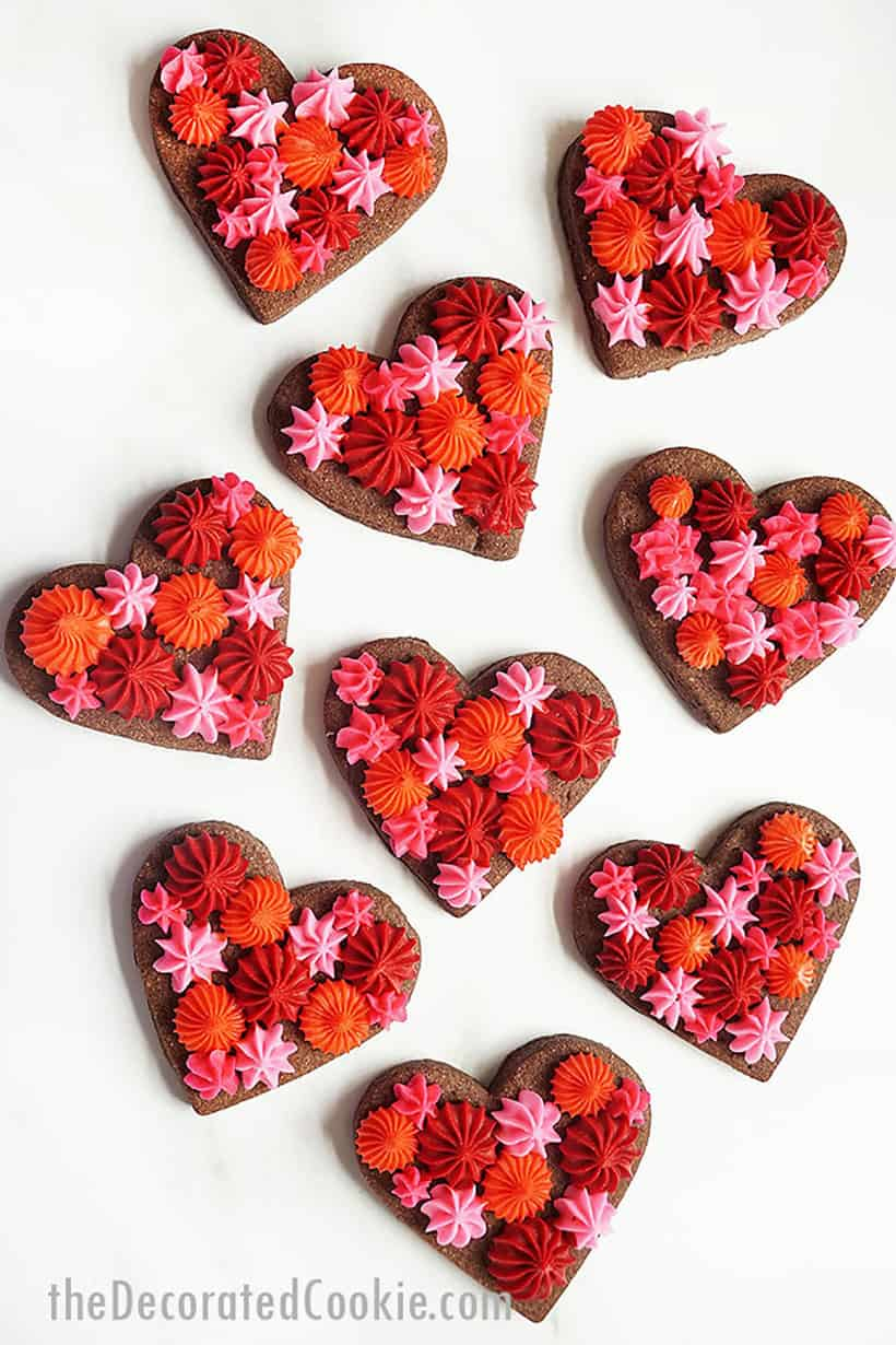 chocolate heart cookies for Valentine's Day