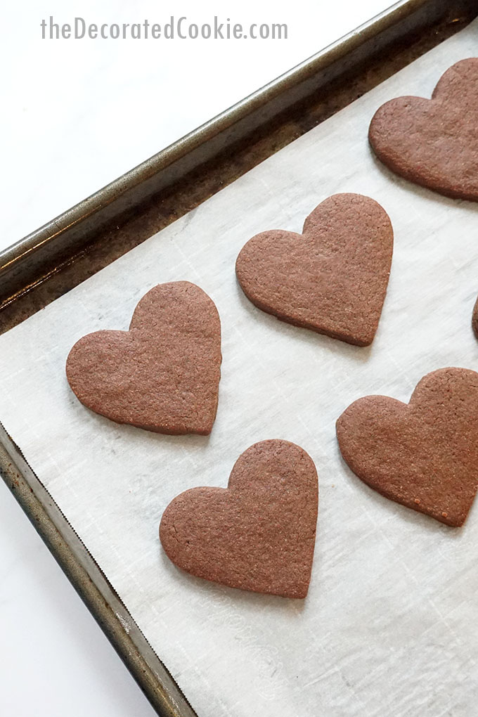 baking tray with chocolate heart cookies