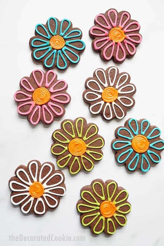 overhead image of chocolate sugar cookie flowers