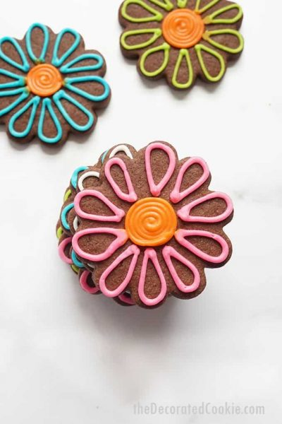 stack of chocolate sugar cookie flowers