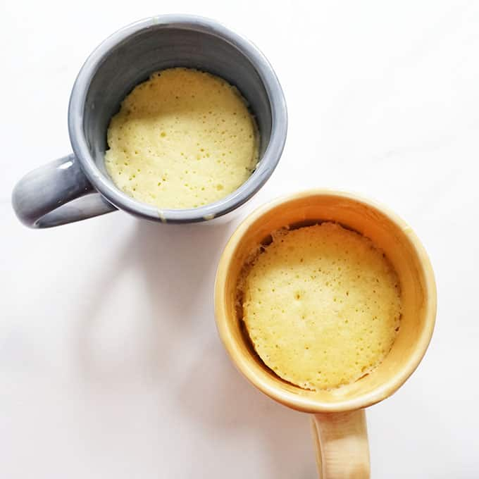 two vanilla microwave mug cakes