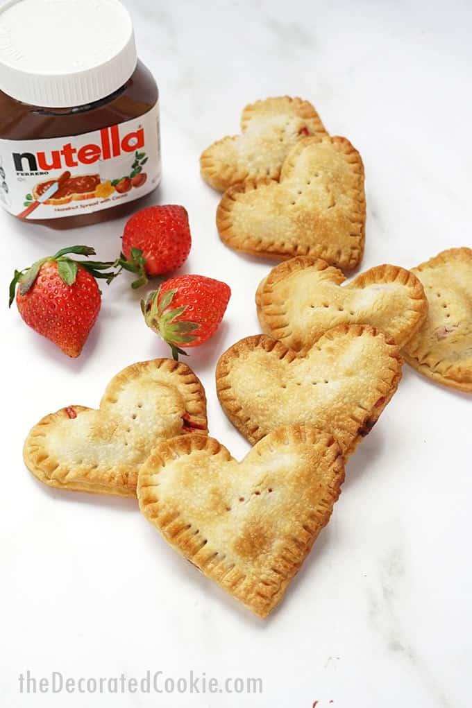 Valentine's Day nutella strawberry hand pies.