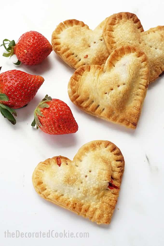 strawberries and Valentine's Day hand pies