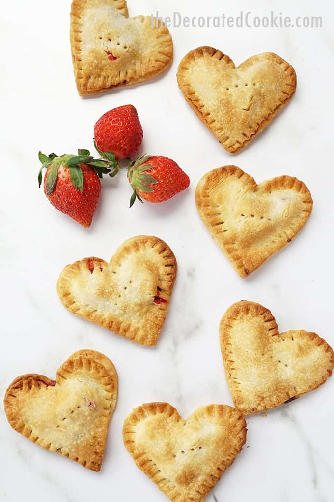 overhead image of strawberry nutella hand pies