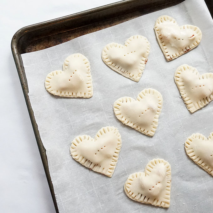 Valentine's day hand pies on baking tray