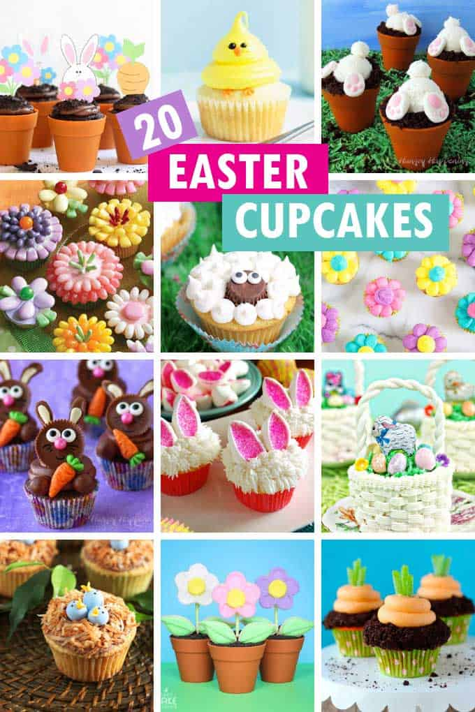 a collage of easter cupcakes
