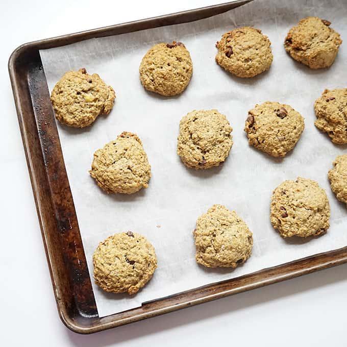 banana oatmeal breakfast cookies on baking tray