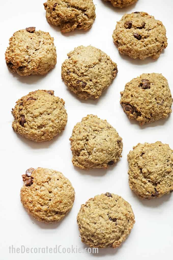overhead image of banana oatmeal breakfast cookies